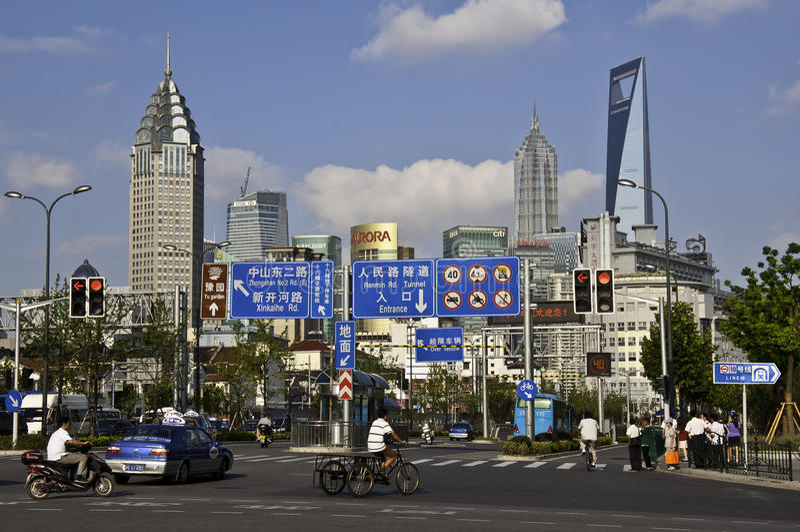 Cena da rua de Shanghai fotografia de stock royalty free