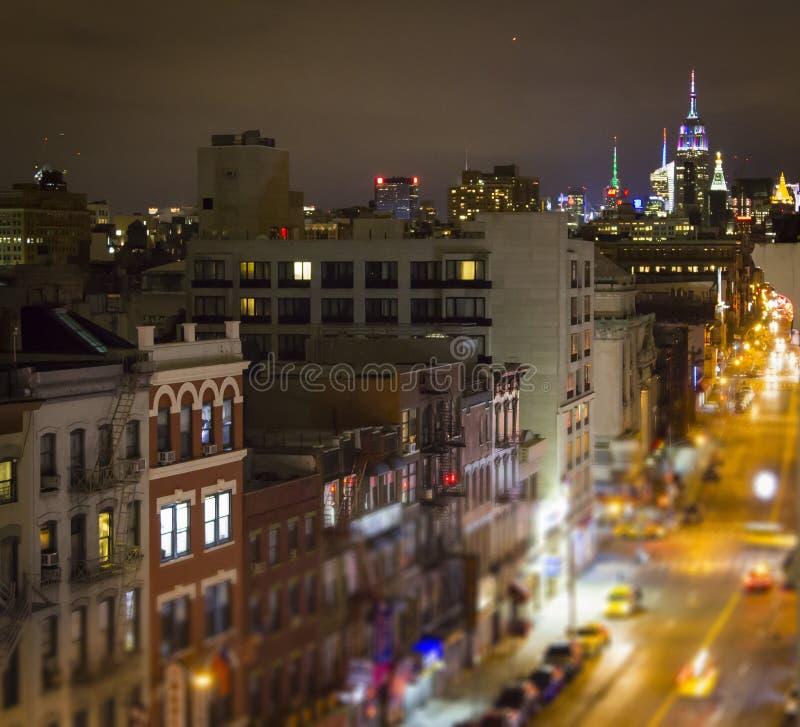 Cena da rua do bairro chinês de New York City em Manhattan com o Midto fotografia de stock