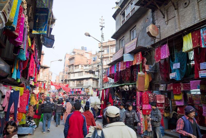 Cena da rua, Kathmandu, Nepal foto de stock