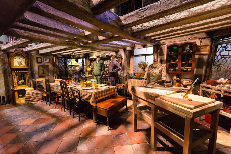 Cena da sala da cozinha do filme de Harry Potter fotografia de stock royalty free