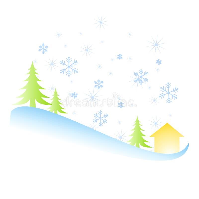 Cena das árvores da neve do inverno ilustração royalty free