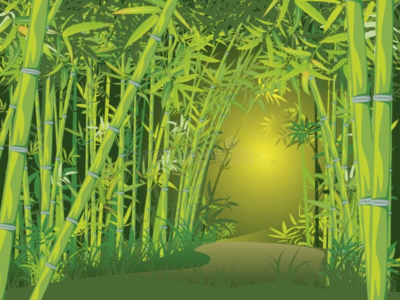 Cena de bambu da floresta ilustração royalty free