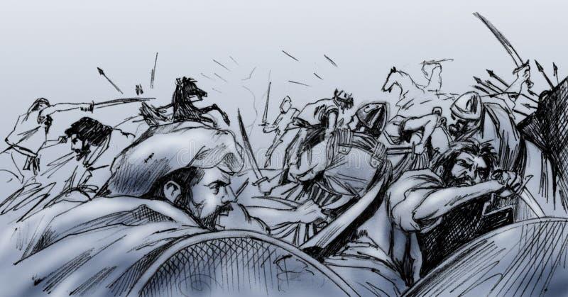 Cena de batalha em Turquia antiga ilustração royalty free