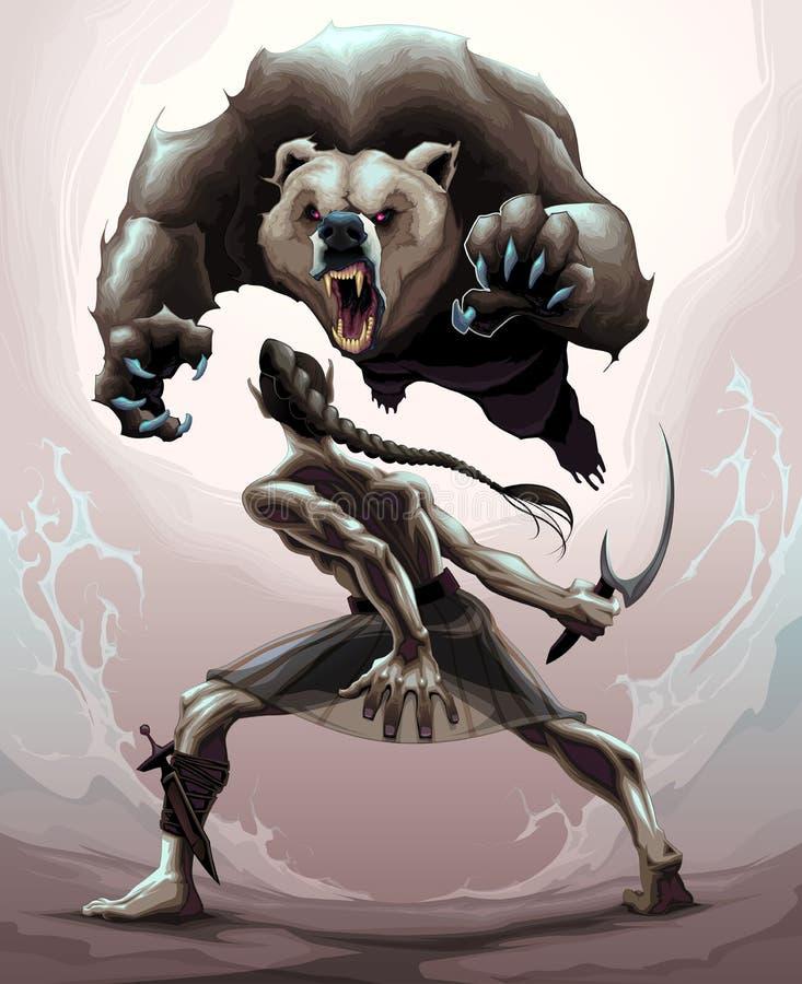 Cena de batalha entre um duende e um urso irritado ilustração do vetor
