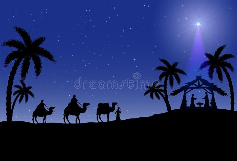 Cena de Christian Christmas ilustração stock