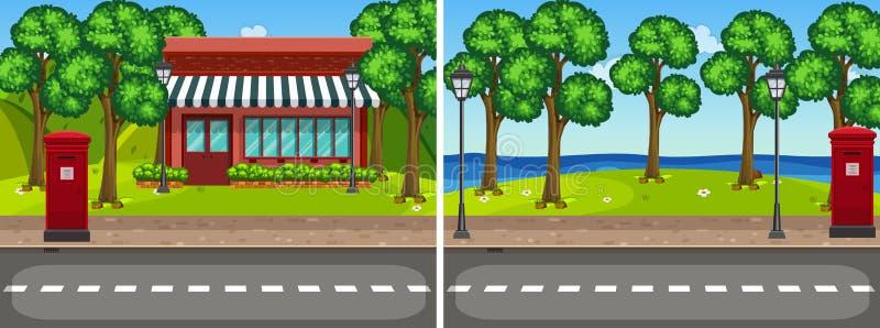 Cena de duas estradas com árvores e loja ilustração royalty free