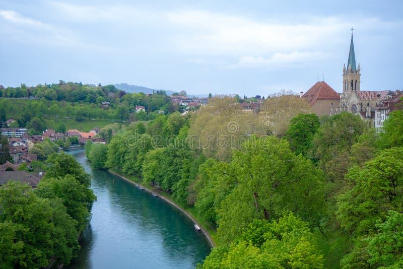 Cena de encantamento do rio verde fresco da árvore e do aare com a torre da catedral de Berna no fundo do céu da nuvem foto de stock