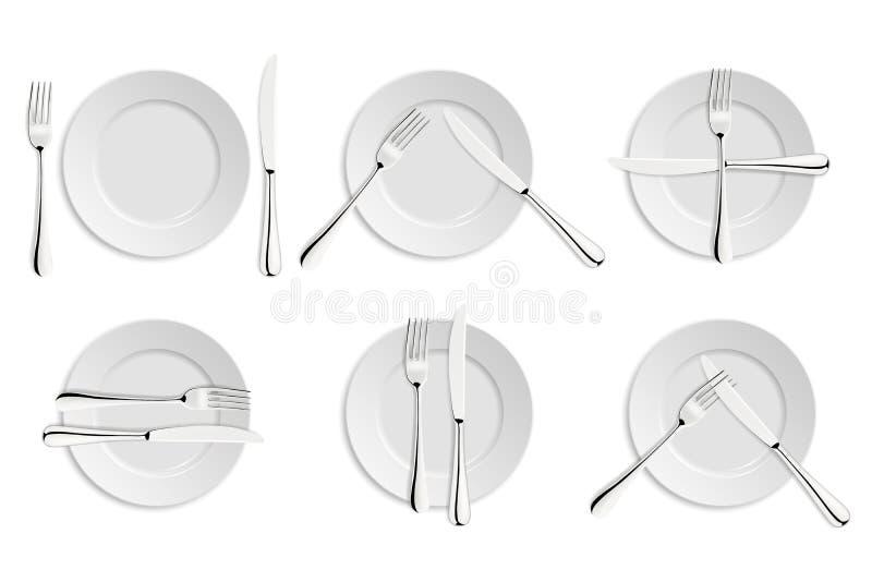 Cena de etiqueta, de bifurcaciones y de señales de los cuchillos libre illustration