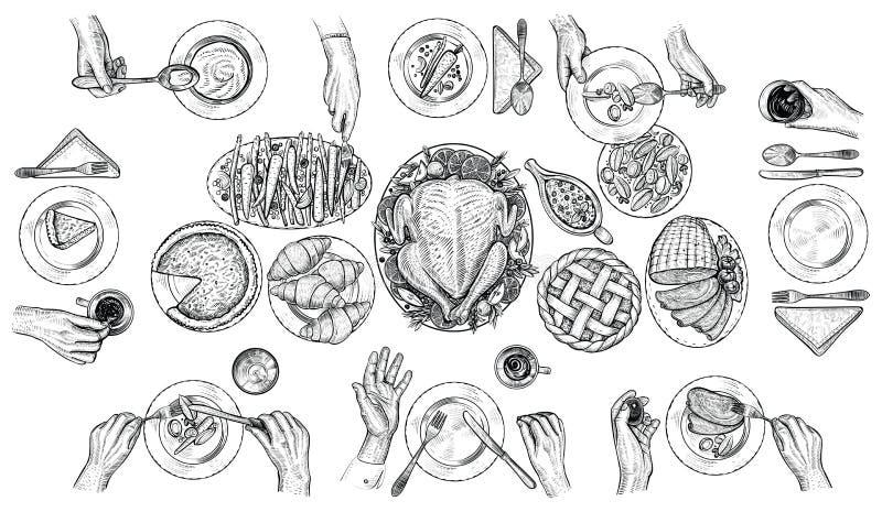 Cena de gente, ejemplo del vector Manos con los cubiertos en la tabla Dibujo de la visión superior stock de ilustración