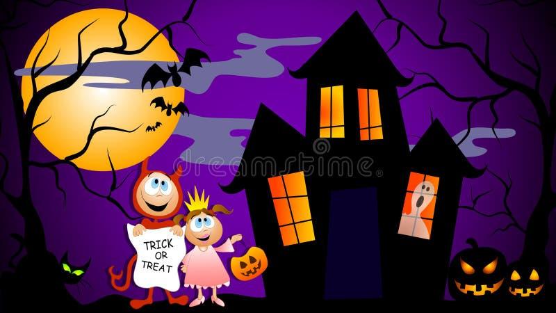 Cena de Halloween do truque ou do deleite ilustração royalty free