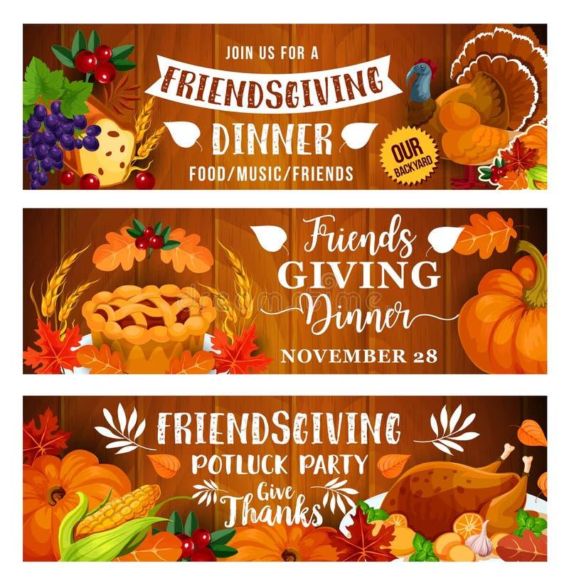 Cena de la acción de gracias o partido del potluck de Friendsgiving stock de ilustración