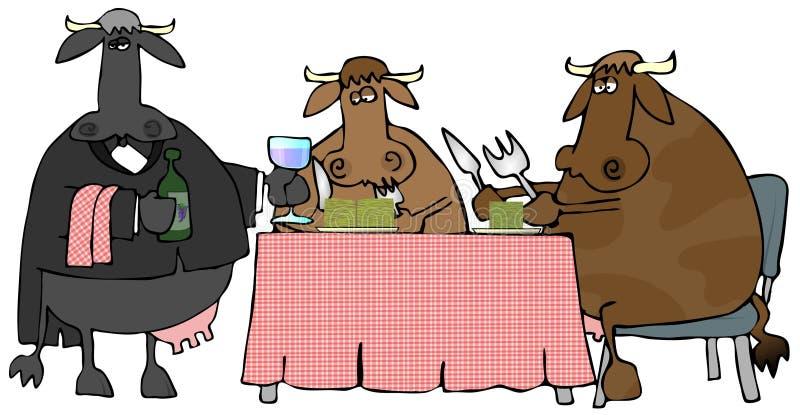 Cena de la carne de vaca stock de ilustración