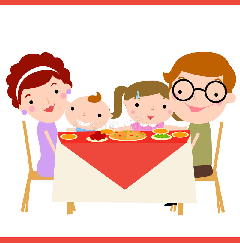 Cena de la familia ilustración del vector