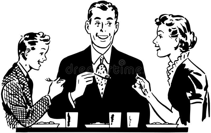 Cena de la familia stock de ilustración