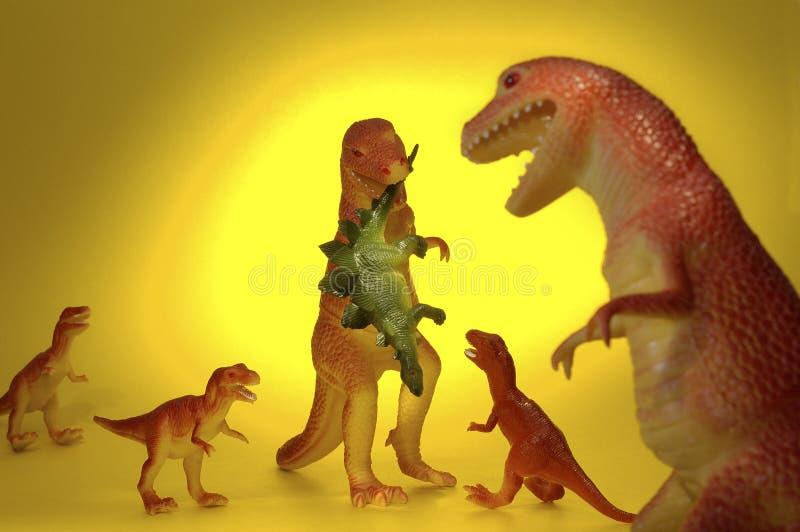 Cena De La Familia Del Dinosaurio Foto de archivo libre de regalías
