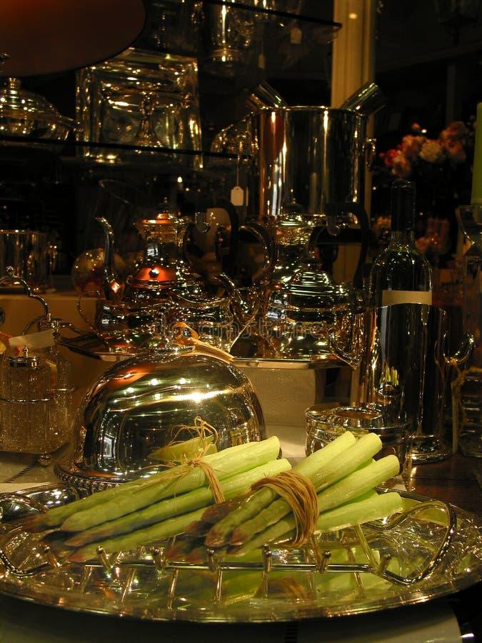 Cena de lujo del espárrago imagenes de archivo