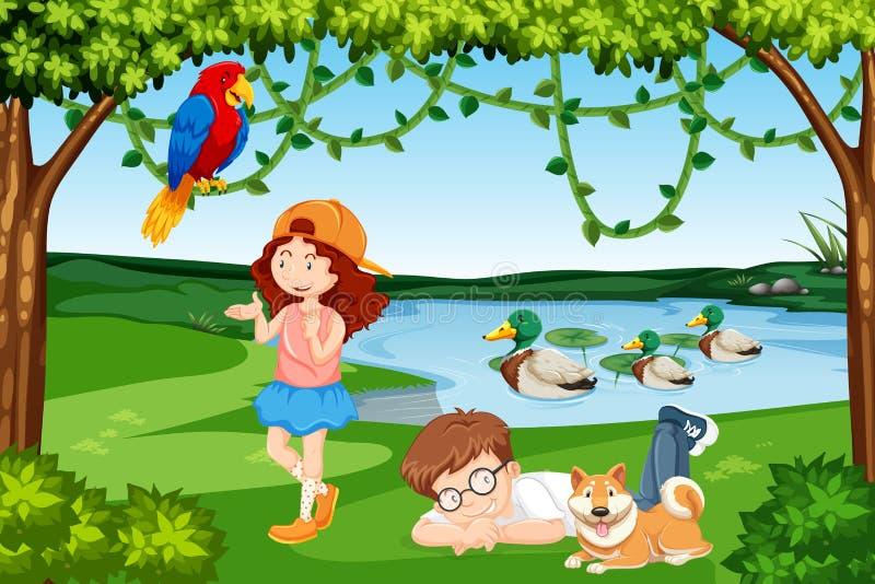 Cena de madeira das crianças e dos animais ilustração royalty free