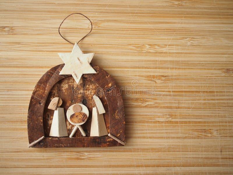 Cena de madeira minúscula da natividade fotos de stock