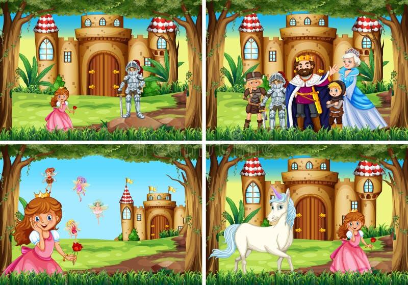 Cena de quatro fundos com princesa e cavaleiro pelo palácio ilustração do vetor