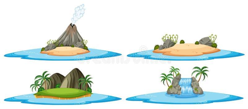 Cena de quatro naturezas com ilhas e oceano ilustração do vetor