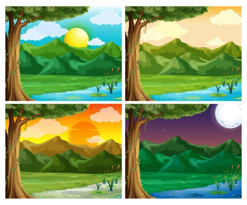Cena de quatro naturezas na hora diferente ilustração stock