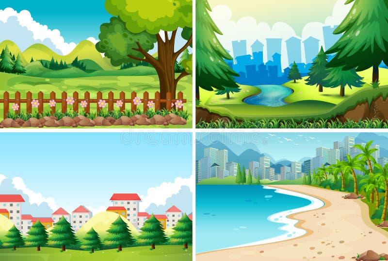 Cena de quatro naturezas no dia ilustração stock