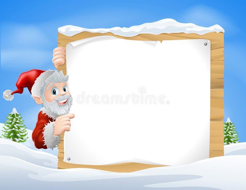 Cena de Santa Christmas Sign Snow ilustração royalty free