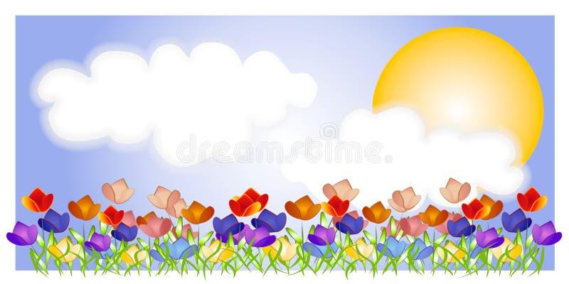 Cena de Sun do céu do jardim do Tulip ilustração do vetor