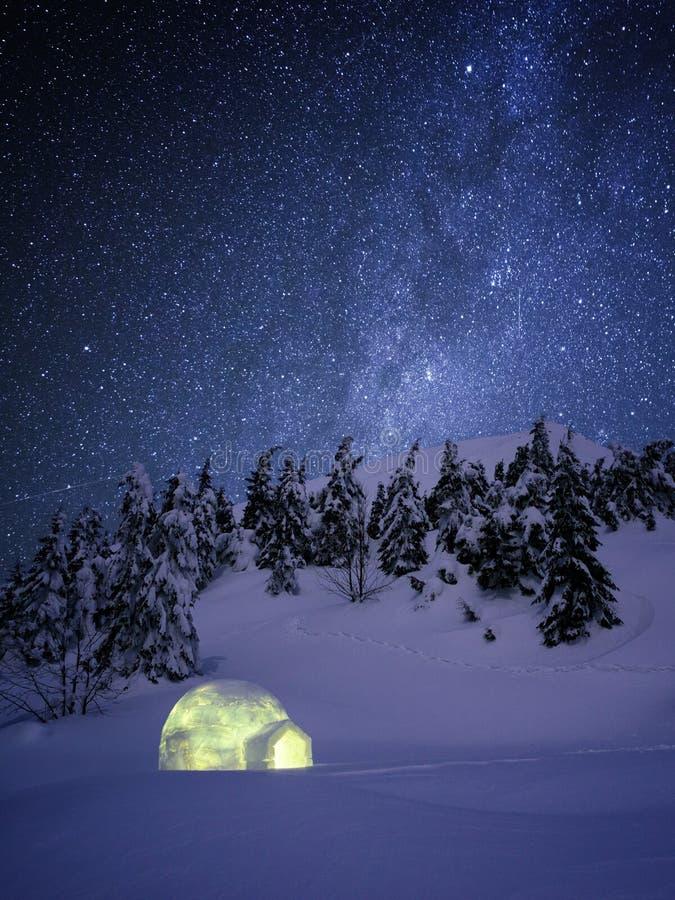 Cena de surpresa da noite do inverno com neve do iglu e um céu estrelado imagem de stock royalty free