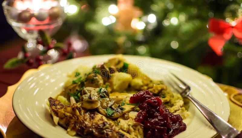 Cena de Turquía con la salsa de arándano y la salsa de la seta fotos de archivo libres de regalías