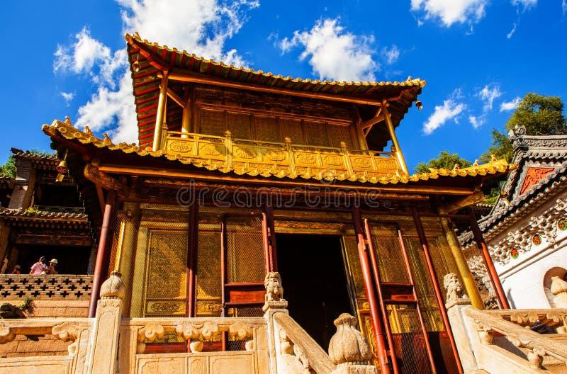 Cena de Wutaishan (montagem Wutai). Salão de cobre. imagens de stock royalty free
