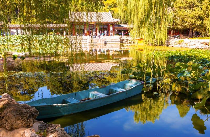 Cena de Xiequ Yuan (jardim de prazeres harmoniosos) do palácio de verão imagens de stock