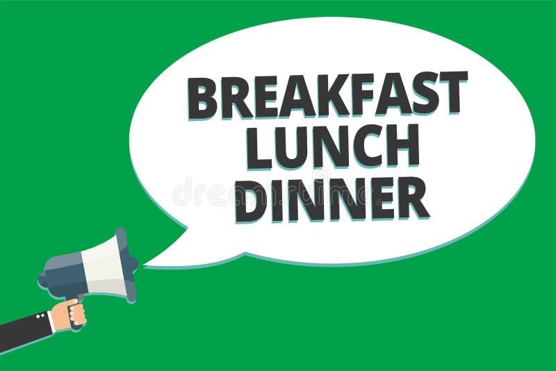 Cena del almuerzo del desayuno del texto de la escritura Significado del concepto que come sus comidas en diverso período de tex  ilustración del vector