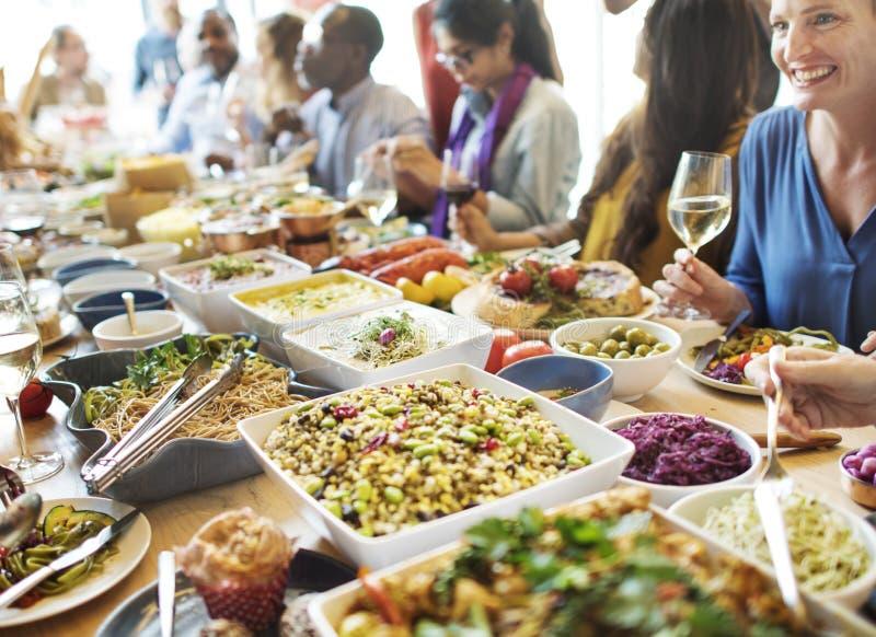 Cena del buffet che pranza concetto del partito di celebrazione dell'alimento fotografia stock