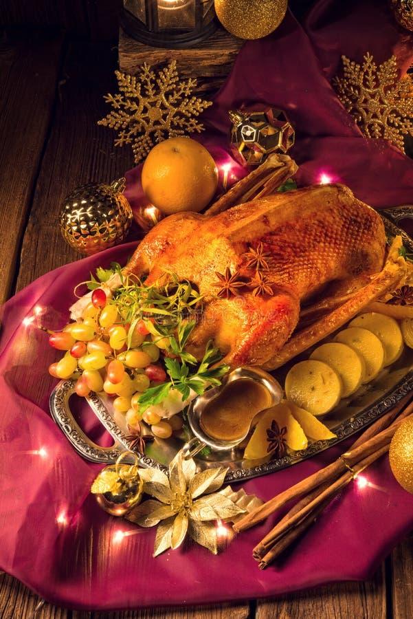 Cena del ganso de la Navidad fotos de archivo libres de regalías