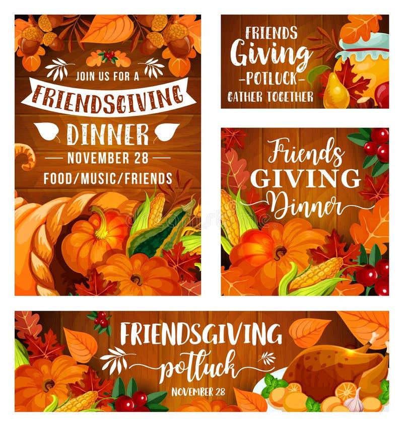 Cena del potluck de Friendsgiving, día de la acción de gracias stock de ilustración