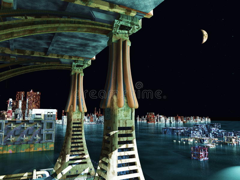 Cena do Armageddon na cidade imagem de stock royalty free