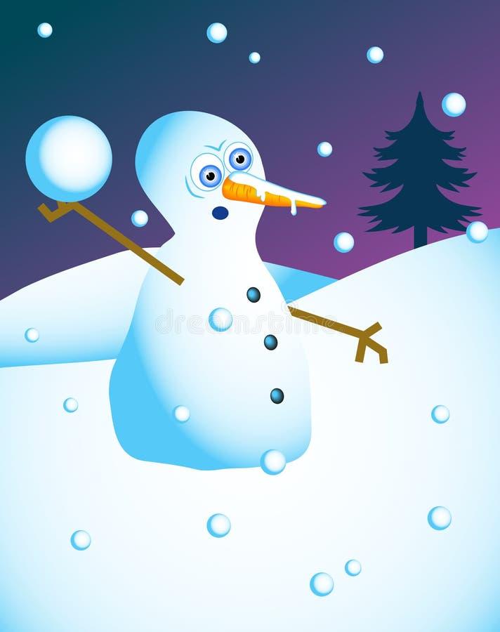 Cena do boneco de neve ilustração stock
