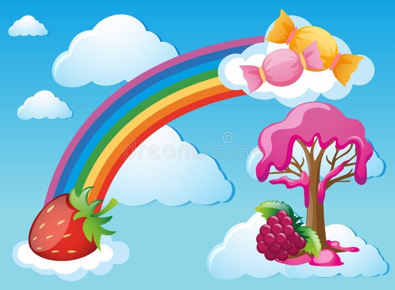 Cena do céu com arco-íris e doces ilustração stock