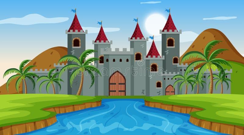 Cena do castelo com rio ilustração stock