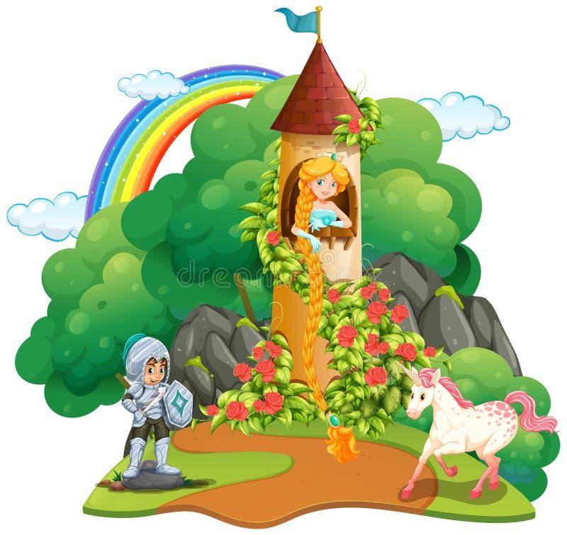 Cena do conto de fadas com cavaleiro e princesa ilustração royalty free