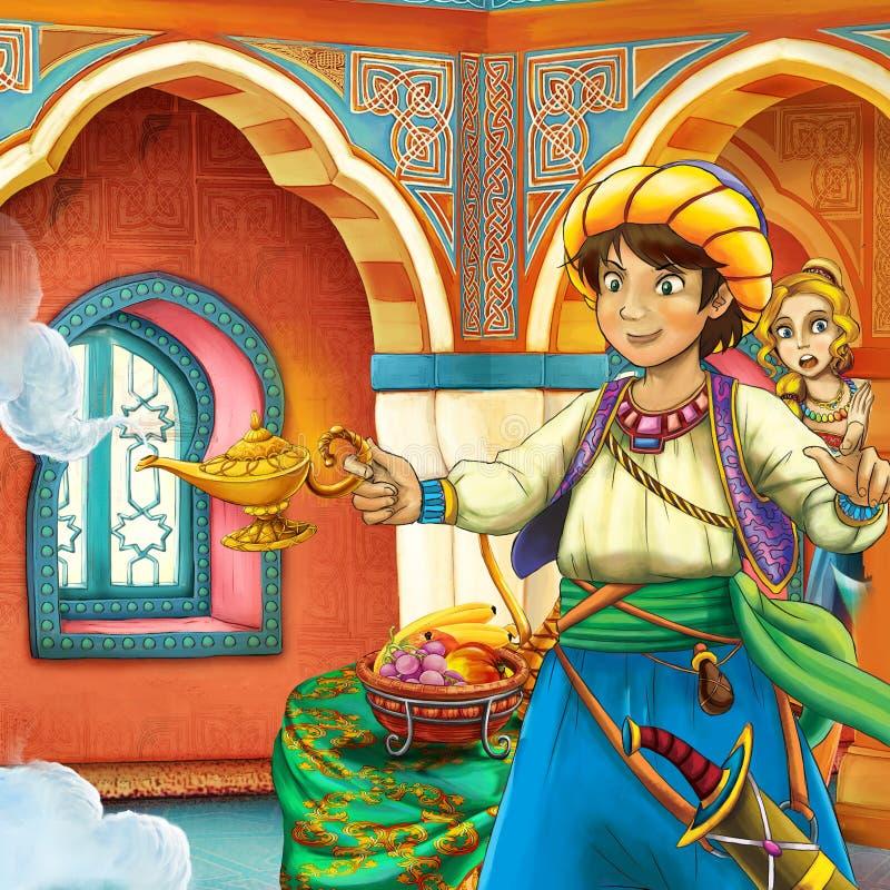 Cena do conto de fadas dos desenhos animados ilustração royalty free