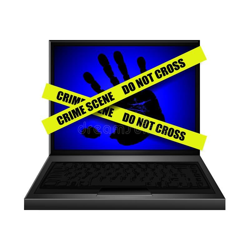 Cena do crime Handprint do Internet ilustração do vetor