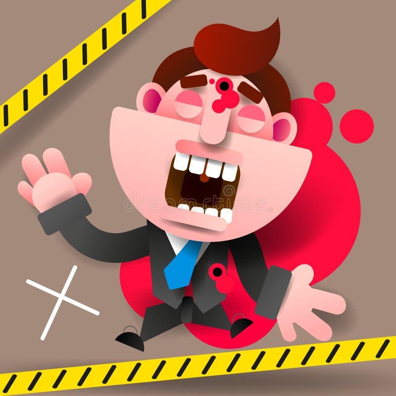 CENA DO CRIME - NÃO CRUZE Esboços do giz da vítima matada da violência armada na estrada Homem de negócios inoperante ilustração royalty free