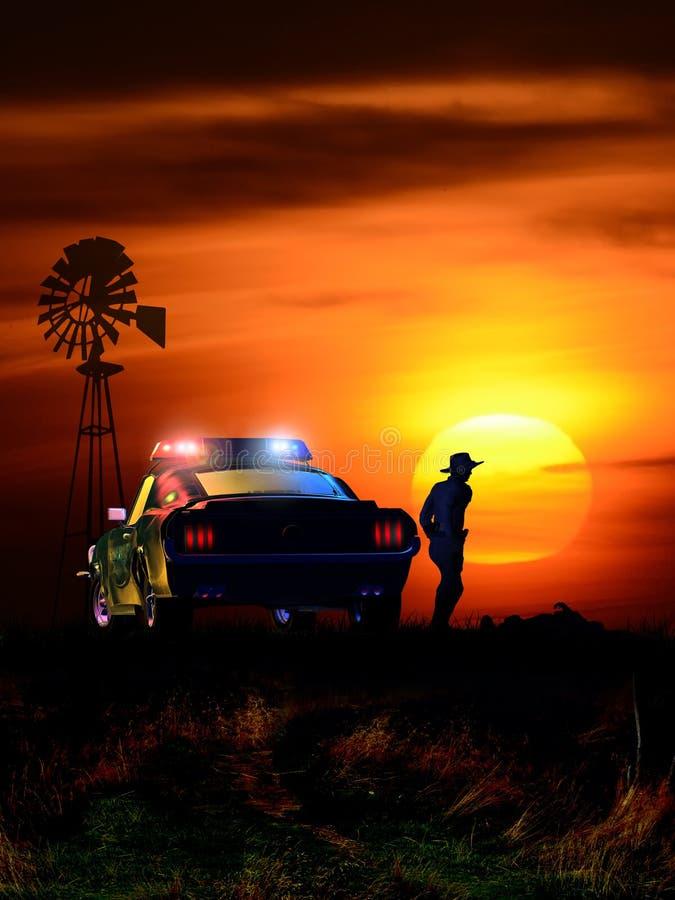 Cena do crime no por do sol ilustração royalty free