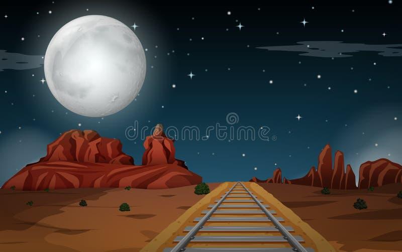 Cena do deserto na noite ilustração royalty free