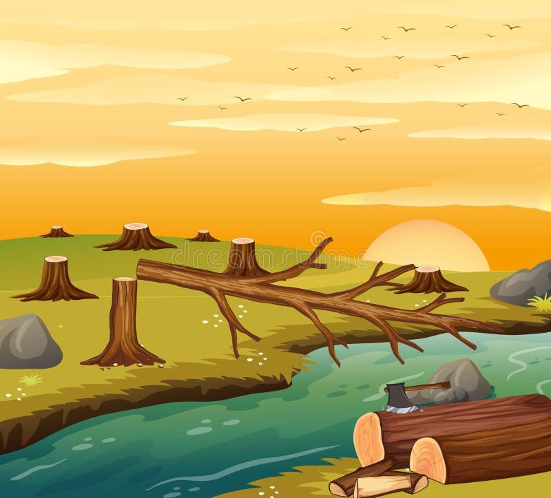 Cena do desflorestamento no por do sol ilustração royalty free