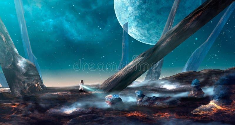 Cena do espaço Astronauta na terra da lava com ponto grande Nebulosa azul ilustração do vetor