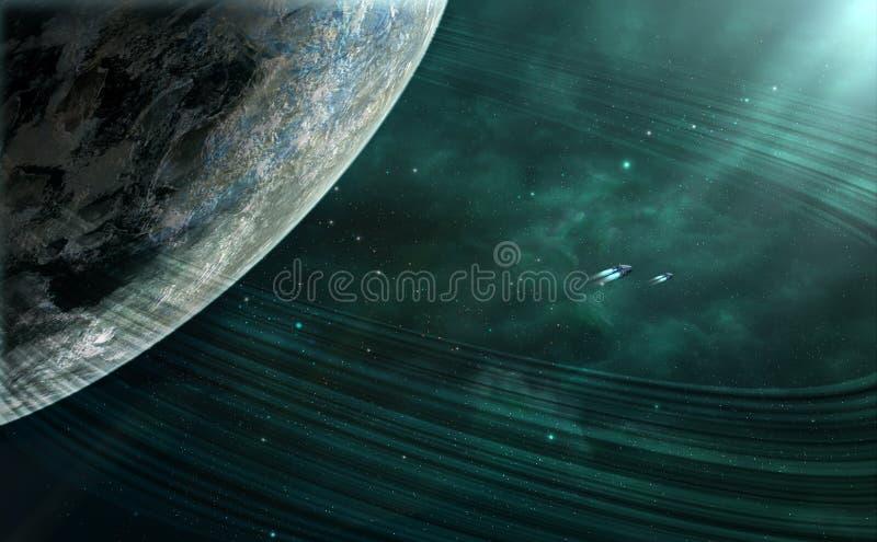 Cena do espaço Nebulosa verde com planeta e anel planetário Elemen ilustração stock