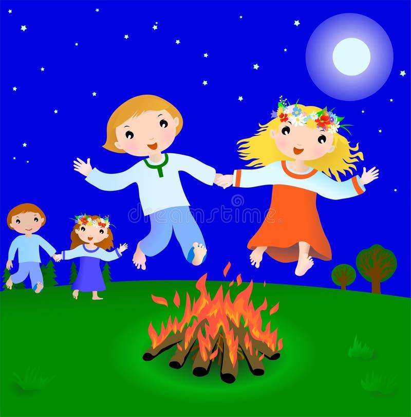 Cena do feriado de Ivan Kupala ilustração royalty free